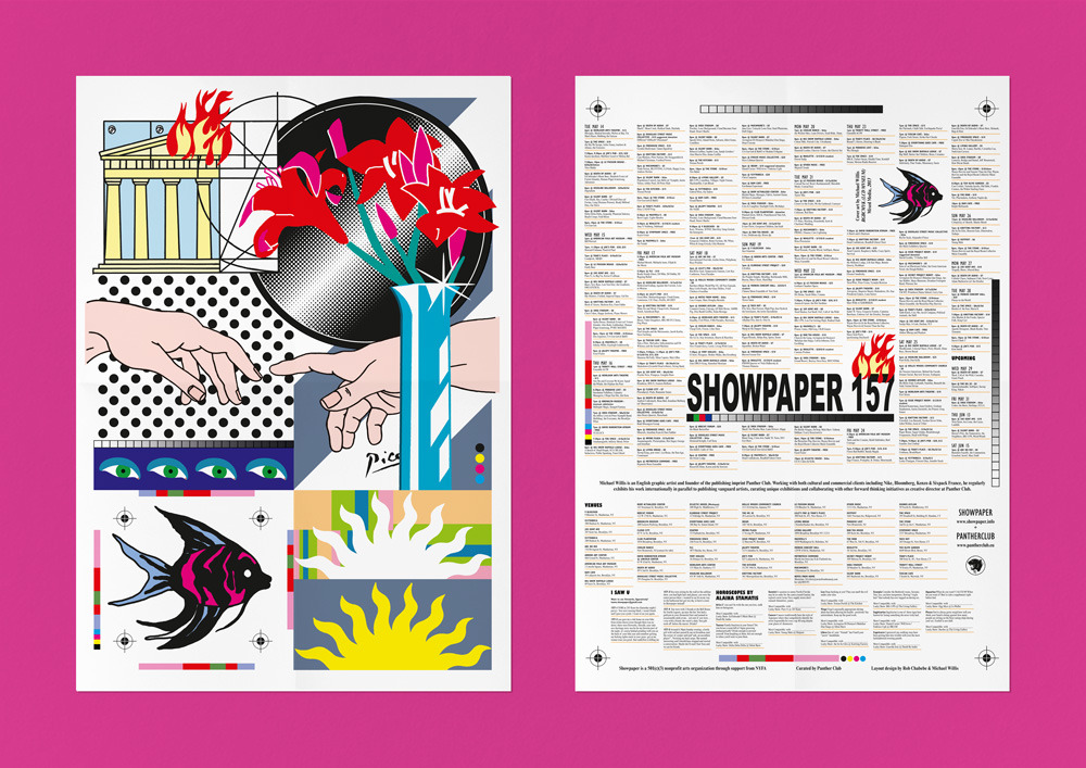 ShowPaper #157 The 4th and final issue curated by Panther Club featuring cover art by p/c founder Michael Willis. Design by Michael Willis and Rob Chabebe @EyeBodega