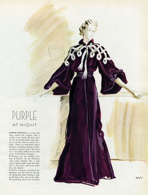 Vogue September 1935 Illustration of gown by Marcel Rochas Conde Nast