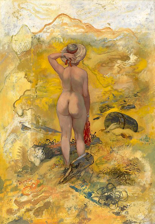 George Grosz - Female Nude in the dune of Cape Cod