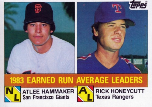 Random Baseball Card #2274: 1983 Earned Run Average Leaders: NL, Atlee Hammaker, San Francisco Giants, 2.25, & Rick Honeycutt, Texas Rangers, 2.42. Topps, 1984.