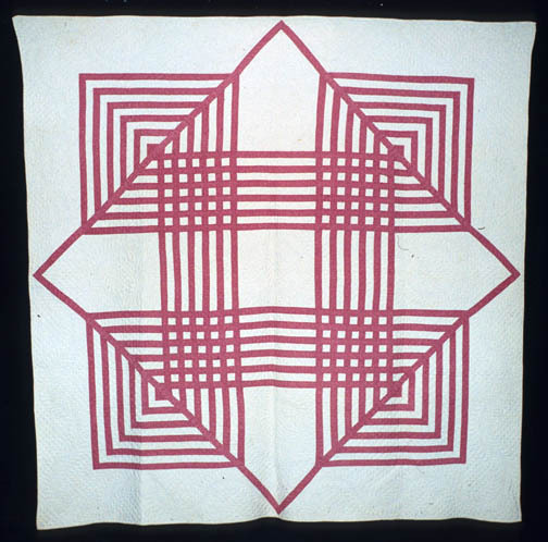 Primary Pattern: Carpenter's SquareQuiltmaker: Maker unknownGeographical Origin: Made in United StatesDate: Circa 1950Style/Type: SignatureDimensions (LxW): 191 x 196 Centimeters Via IQSC