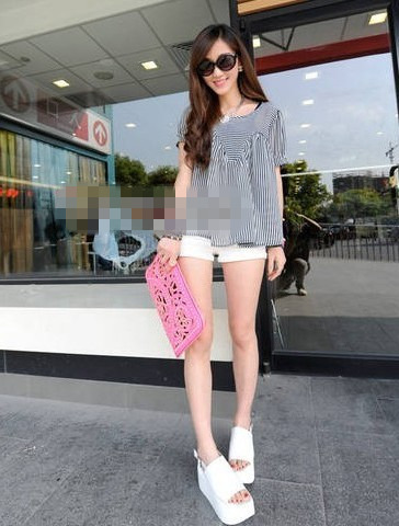 new women's short sleeve chiffon blouse shirt D19015