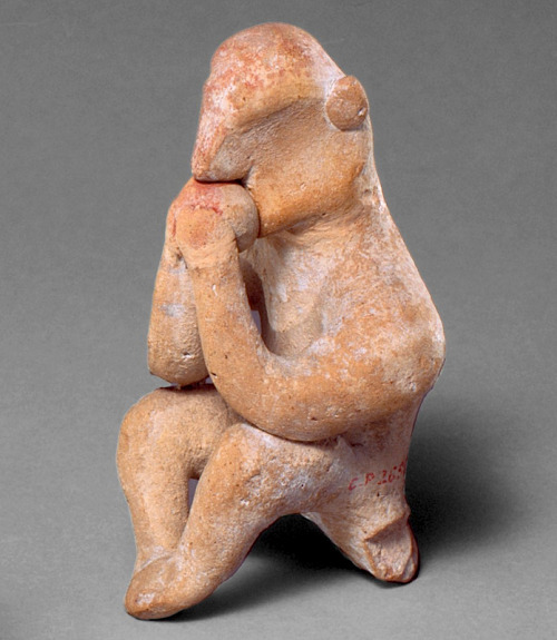 "blakegopnik:  DAILY PIC: This Cypriot terracotta, of a man smelling a fruit, was made in about 500 B.C., and is now in the collection of the Metropolitan Museum of Art. I'm not only showing it for its own sake, as a prototype Cyrano, but as an example of how much olfaction once mattered to us human beings, despite the short shrift our noses now get  – except of course in a ""live"" perfume show called ""The Art of Scent"", at the Museum of Art and Design for a few more weeks still. I've written about the exhibition more than once, but I'm hitting it again because my thoughts in an earlier Daily Pic have now sparked some response from its curator, Chandler Burr, to which I've replied. Some smell-y readers might want to follow our ongoing dialogue, or even contribute to it. Our first interchange is below: Read More"
