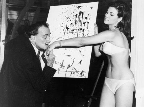 redguitarrr:  Salvador Dali and Raquel Welch