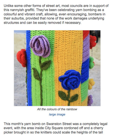 because yarn-bombing is the state, that's why