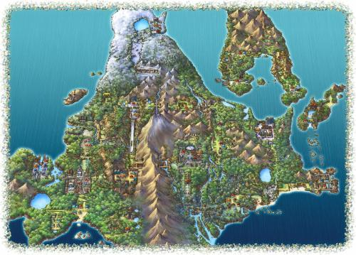 Illustrated map of Pokemon Diamond/Pearl/Platinum's Sinnoh Region, via reddit