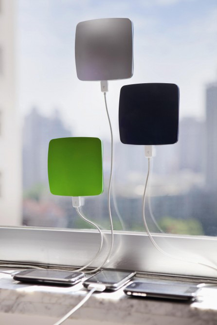 Window solar charger Sticks to a window and soaks up the sun to charge your phone. Excellent for backpacking times when you get up at 7am just to beat the others to a free plug and still miss out.