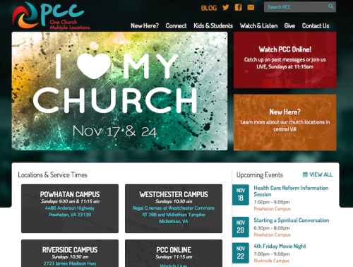 latestba21project:  PCC Wired http://pccwired.net Fresh redesign for a multi-site Church website. Refresh Perspective hired me to help develop the website, working with the designer hand-offs. I developed the website with Wordpress and utilized the Roots theme framework and is responsive to mobile, tablet and desktop sizes. It was a pleasure to work with Ryan Liverman and the Refresh team and it's great to see the site online.