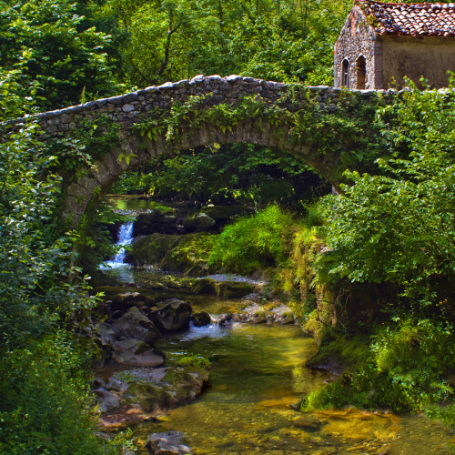 Ancient Stone Bridge, Asturias, Spain photo via hope