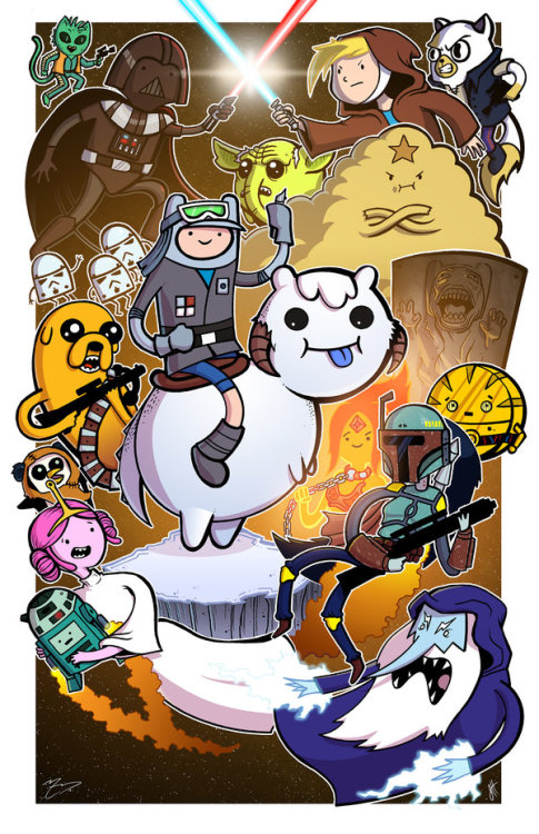 kryptongirl:  It is May the 4th, and everything is cuter in Adventure Time style. By Mike Vasquez and Joe Hogan.
