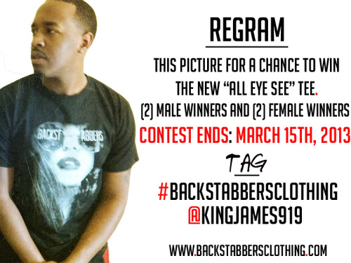 "REGRAM for your chance to win a free ""All Eye See"" T … 2 male winners 2 female winners. Tag me (@KingJames919) and hashtag #BackstabbersClothing when you repost it. Contest ends next Friday. ((👉http://www.backstabbersclothing.com/👈)) #BackstabbersClothing"