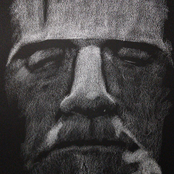 White Conte on black paper. Classic character…