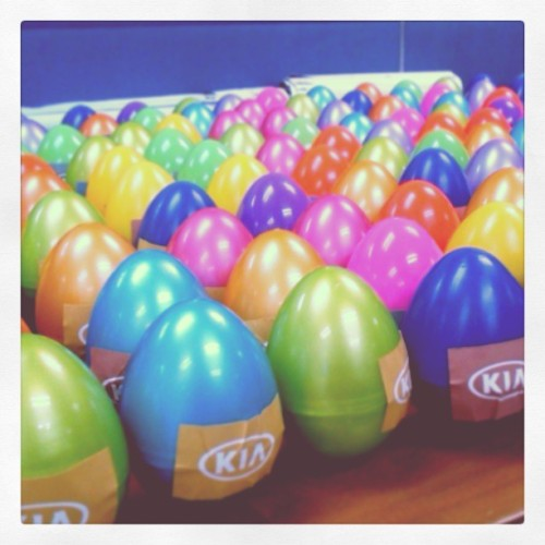 The eggs are ready for this Sunday's Kia Easter Egg Hunt at Enchanted Kingdom! :) Packed all the good stuff w @paoangelo :D