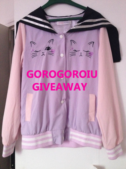 gorogoroiu:   GOROGOROIU FIRST GIVEAWAY  !! What you will win : This cat jacket from the brand Lolli punks. Out of stock on the internet, so my friend who live in Tokyo bought if for me in their store at Harajuku. It's a onesize. ♡♡♡♡♡♡♡♡♡♡♡ Rules : - You must be following me. I will check.- No giveaway blogs.- Reblog this post. Likes do not count. Reblog this as many times as you want but don't spam your followers.- Do not delete this text.- Ask box must be open. If no reply is received within 48hours, a second winner will be picked.- I will be choosing the winner with random.org-  Post must reach at least over 500 notes or I call off the giveaway.- Giveaway ends on May 31st, 2013.  This giveaway is now hosted off-site on rafflecopter because it seems tumblr is blocking notes on giveaways since they're not permitted on this site. Here is the link : GOROGOROIU FIRST GIVEAWAY. You have only entered if you entered via rafflecopter, reblogging is not sufficient! (but you must following me on Tumblr). Sorry guys I just want it to be fair !