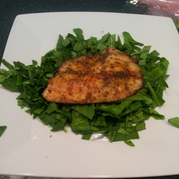 Smoked garlic/tequila Tilapia  on a bed of 8 oz of chopped spinach. #relentlesslifestyle #clean #eating #getfit #stayfit #sofit #liveit #loveit #Fitfam #fitness #motivation