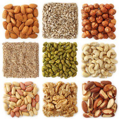 coachsmith:  Here are a few good reasons to go nuts about nuts: One ounce of nuts, according to the United States Department of Agriculture Nutrient Database, contains between 4 and 6g of protein. The Harvard University School of Public Health says that nuts are not only a source of protein but also may reduce risk of heart disease if eaten several times a week. It is important to avoid overeating nuts since they contain 150 to 200 calories an ounce. But using nuts as a replacement for chips or other salty snacks can provide a healthy snack alternative. Seeds, such as sunflower or pumpkin seeds, are also a rich protein source, at 6 to 9g of protein per ounce.