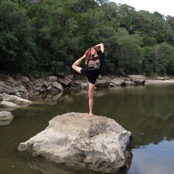 @tonilane doing a little bit of yoga on a rock in the creek bed. #barton #creek #chill #hiking #running #stretching #fun #instagood #outdoors (at Barton Creek Greenbelt)