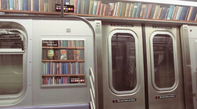 good:   A Library for the Subway- Adele Peters posted in Design, Product Design and Technology Let's say you're stuck on the F train, trying to ignore the person coughing on you, a screaming baby, and a someone staring creepily. (No, I'm not describing my morning). Wish you hadn't forgotten a book? Here's an interesting idea from a group of design students: using tech to bring you the first 10 pages of a popular book on your phone, and then telling you the nearest public library where you can go pick up the actual book. Nice way to possibly get more people back in libraries.
