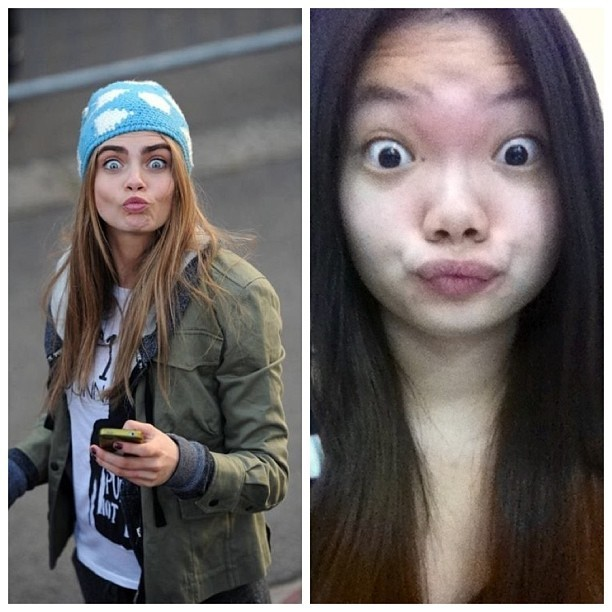 Copying my fav model @caradelevingne funny face.  She look adorable and mine look so weird. #wednesday #bored #funny #face #cara #delevingne #adorable #mine #weird #ugly #likes #love #fav #model #instagram #insdaily #asian #girls #lol