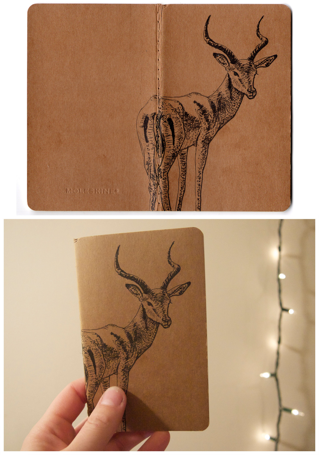 eatsleepdraw:  I drew on the cover of this moleskine as a christmas present for my sister! :)  Hey, I got published on eatsleepdraw! I feel special. :p