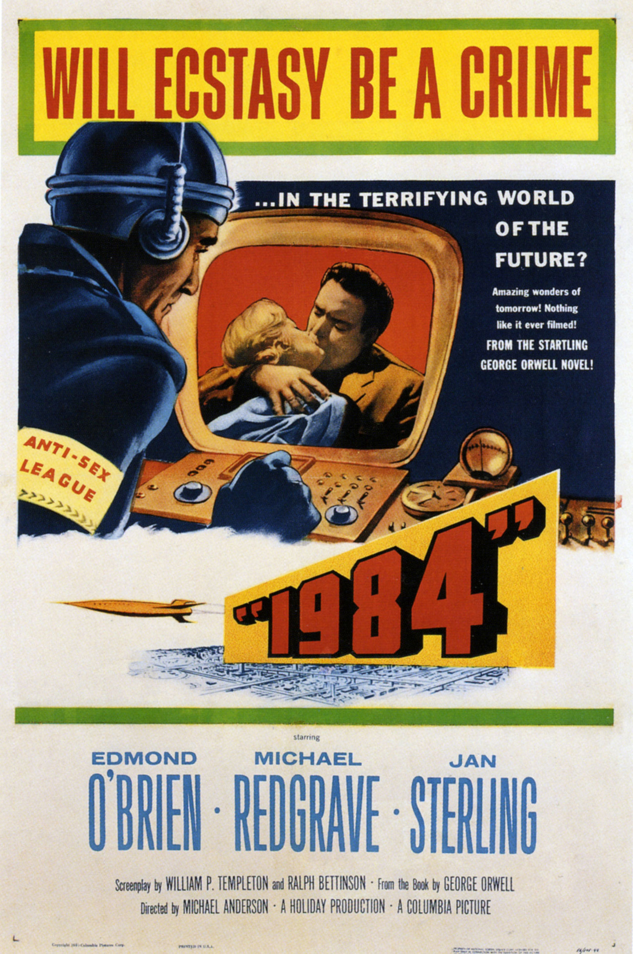 Actual theatrical release poster from 1956 film adaptation of George Orwell's 1984