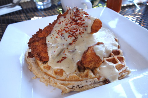 Demon Lover @900 Grayson     Fried chicken with buttermilk waffle and old-fashioned cream gravy