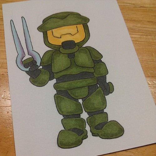 A wee tiny Master Chief. #halo #masterchief #sketchcards #cartoon #videogames #beckadoodles