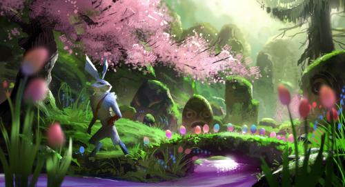 With its stone carvings and Japanese-garden touches, it's apparent Bunnymund's Warren was once an orderly place, perhaps the site of a lost civilization.