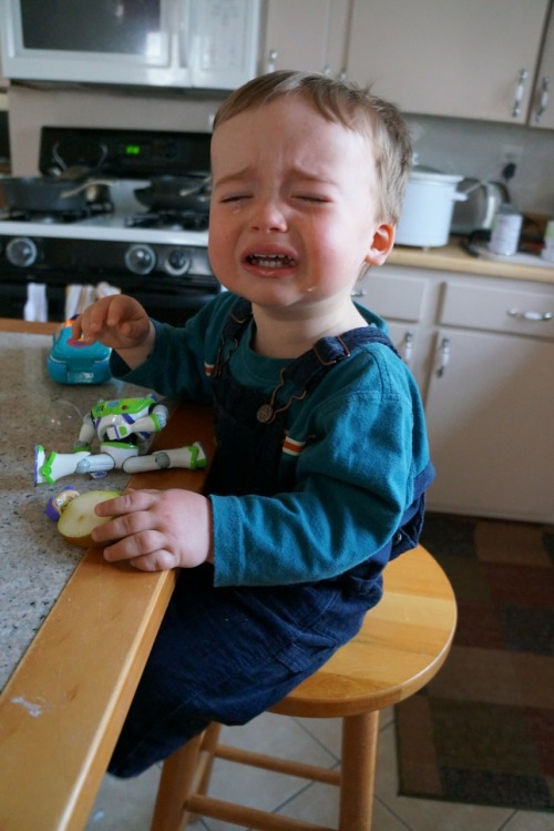 reasonsmysoniscrying:  I washed the dirt and sand off his pear.