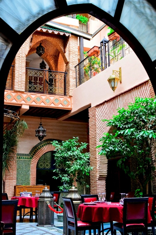 | ♕ |  Courtyard restaurant - Marrakech, Morocco  | by © Audrey