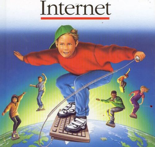 "fuckyeahugly90sclothes:  Cybersurfing 90s-style. Hang 10 duuuuudes. Reminds me of some time in the mid-late '90s when I asked my dad if our home PC ""had internet."" Because I didn't know what made the internet actually work or even how it worked — I just wanted it. He had to explain what a modem was and that no, we did not have internet. I would not send my first email until another 2 years after that."