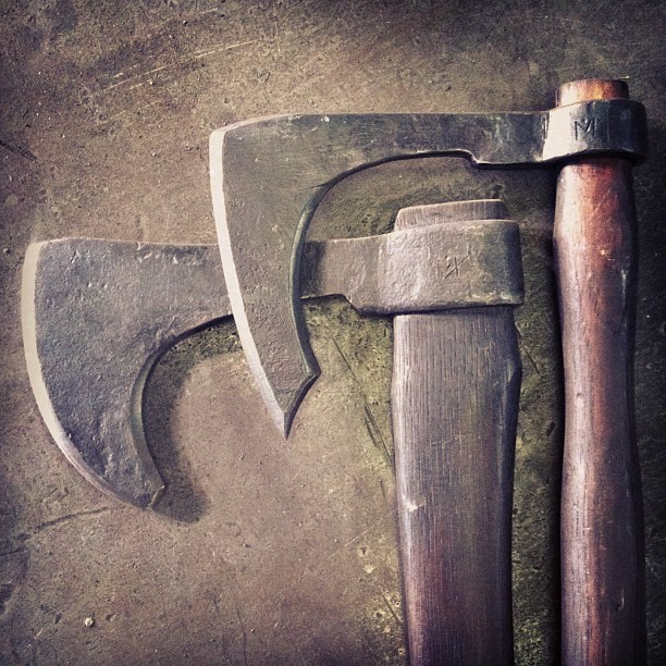 Couple of forged axes. Wrought iron bodies with forge welded 5160 tool steel tips. Love making these. #badass #blacksmith