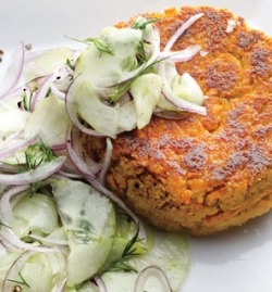 fat2skinnyfast:  Chickpea–Sweet Potato Burgers With Dilly Cucumbers recipe