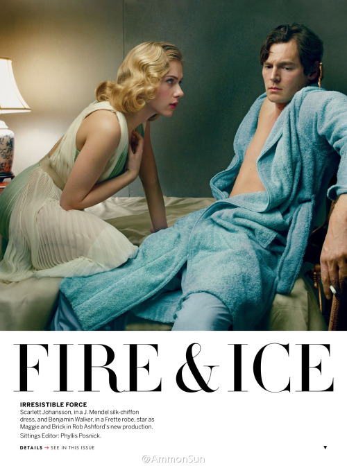 scarlettbar:  US Vogue January 2013 - Scarlett Johansson & Benjamin Walker (HQ)   FIRE & ICE