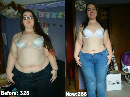 beforeandafterfatlosspics:  328tofit  I am 5'4.I started my weight loss journey at 328, January 11th. It is now almost 5 months since I started and I've lost 62 pounds so far. I've been on every diet you can imagine since I was 12, but only did it for my dad never for myself. Until finally when I was 18 I stepped on the scale for the first time in almost a year and saw 328 and my heart dropped and new I had to do something. So the first time, I'm loosing weight for myself and no one else. Clean eating and exercising really does work and this is the smallest I've seen in myself in years. The pant size in the first picture is a 26 the pant size in the second picture is an 18! My journey has a long way, but I'm here to tell you If I can do it anyone can. (:  328tofit.tumblr.com