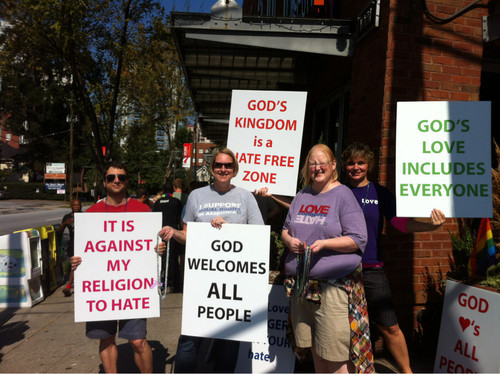 Pro-Gay religious counter-protesters at Atlanta Pride. - Imgur