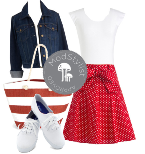 Love this simple nautical look with mixed prints and crisp Keds! Perfect for any day! <3 Amy, ModStylist Need styling suggestions, trend tips, or dress details? Ask a ModStylist and your question might be featured on our feed!