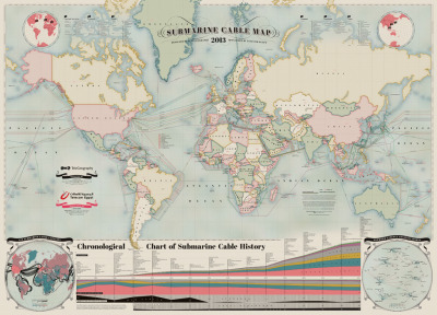 "Submarine Cables new-aesthetic:  ""The design of our new map was inspired by antique maps and star charts, and alludes to the historic connection between submarine cables and cartography."" Submarine Cable Map  FJP: Slate's Will Oremus fills in some details.  At first glance, the lines appear to mirror long-proven global trade routes, with major hubs in global capitals like New York, Amsterdam, and Mumbai. But Mauldin notes that there have been no new cables across the Atlantic since 2003. The growth today is in historically under-served regions like Africa, the Middle East, and Latin America. Nor are all the hubs located in the big cities you'd expect. That phalanx of cables converging on Brazil, for instance, lands not in Sao Paolo or Rio de Janeiro but Fortaleza, simply because it's an easier hop from the Northern Hemisphere. Another surprisingly popular destination is Djibouti, whose appeal becomes more clear when you consider the relative business-friendliness of its neighbors at the mouth of the Red Sea: Somalia, Eritrea, Yemen."
