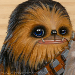"archiemcphee:   Have you ever seen a cuter Wookiee family portrait? This awesome painting is the latest work by artist and Geyser of Awesome friend Kristin Tercek, aka Cuddly Rigor Mortis (previously featured here). It was created for a group Star Wars-themed exhibition hosted by Gallery Nucleus and entitled Saga in the Stars: A Tribute to a Galaxy Far, Far Away.  ""This is a large piece for me (15"" x 11.25"") and I really wanted to make a statement since Star Wars shaped the course of my life. I present ""Kaapauku Life Day Portrait"" with Chewie and his family, Lumpy, Itchy and Malla (anyone see the Star Wars Holiday Special?). I hope this piece makes everyone smile because it was so much fun to paint!""  The show opens Saturday May 4th and runs through May 26th. Click here to view more pieces from this stellar exhibition."