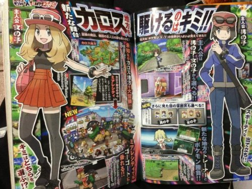 "delcatty:  New CoroCoro Scans! [currently unconfirmed, but it's looking good!] The game is set in the Karos Region, which is modelled on France. Main city is Miare City. The characters are slightly customisable, up to changing hair and skin colour. The goat Pokemon: ""Gogoat (ゴーゴート literally Gohgohto) and is the Riding Pokémon. It's Grass-type, 1.7m and 91.0kg. You can actually ride this Pokémon in the field. It can learn Horn Leech"" Lizard Pokemon: ""Electric type, possibly Normal as well, but the name is currently unviewable due to overexposure. It has a new move called BaraboraCharge"" Bird: ""Yayakoma (ヤヤコマ) and is the Japanese Robin Pokémon. It is Normal/Flying, 0.3m and 1.7kg"" Panda: ""Yancham ( ヤンチャム) and is the Naughty Pokémon. It is Fighting-type, 0.6m and 8.0kg. It has a new move called Parting Remark"" source"