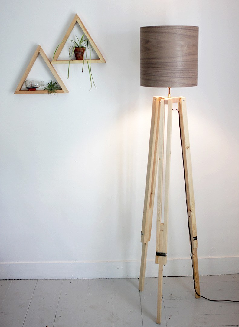 Tripod Floor Lamp | Merry Thought This DIY isn't for the faint of heart, but it's so amazing I just had to share it! The lampshade is made with a kit, but you could update an old shade with the veneer which I think looks very modern (and I'm pretty sure I could make the shades without help!)
