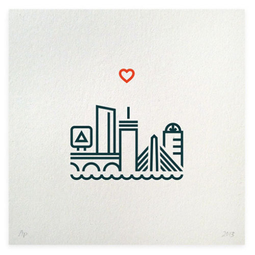 grphosphr:   One Heart Boston Letterpress Print by Hairpin Communications All proceeds from sales of this limited edition print go to the The One Fund Boston. (via)