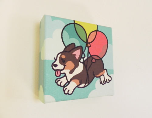 Another mini painting! Corgi and balloons :)