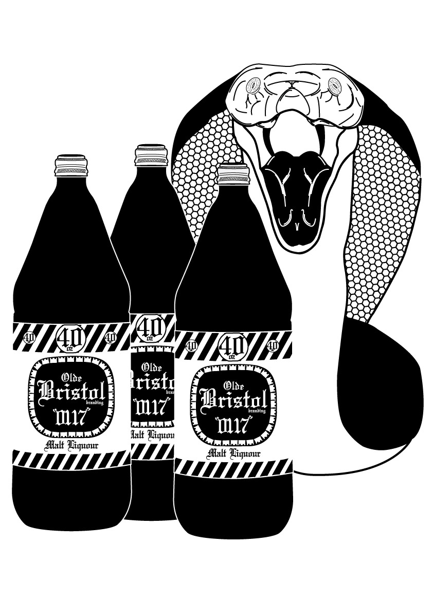King Cobra and 40oz bristol branding olde english liquour, my illustration design made for screenprinting onto t shirts.