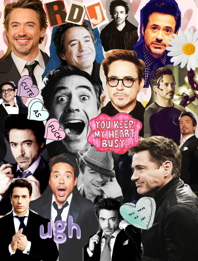 do hipster collages look like this?? HAHA robert downey jr is so attractive i