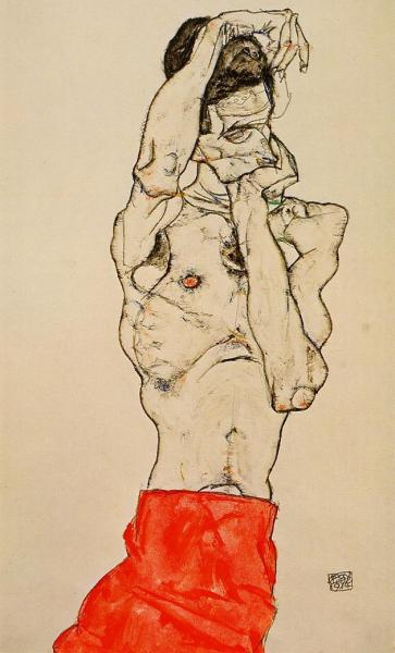 german-expressionists:  Egon Schiele, Standing Male Nude with a Red Loincloth, 1914