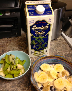 Breakfast (aka I love this Vanilla Almond milk - it is my favorit milk for cereal) - cold cereal bowl w/banana, dried currents, and TJ's Vanilla Almond Milk (I should write a poem about this milk, it is so good) - kiwi and pear