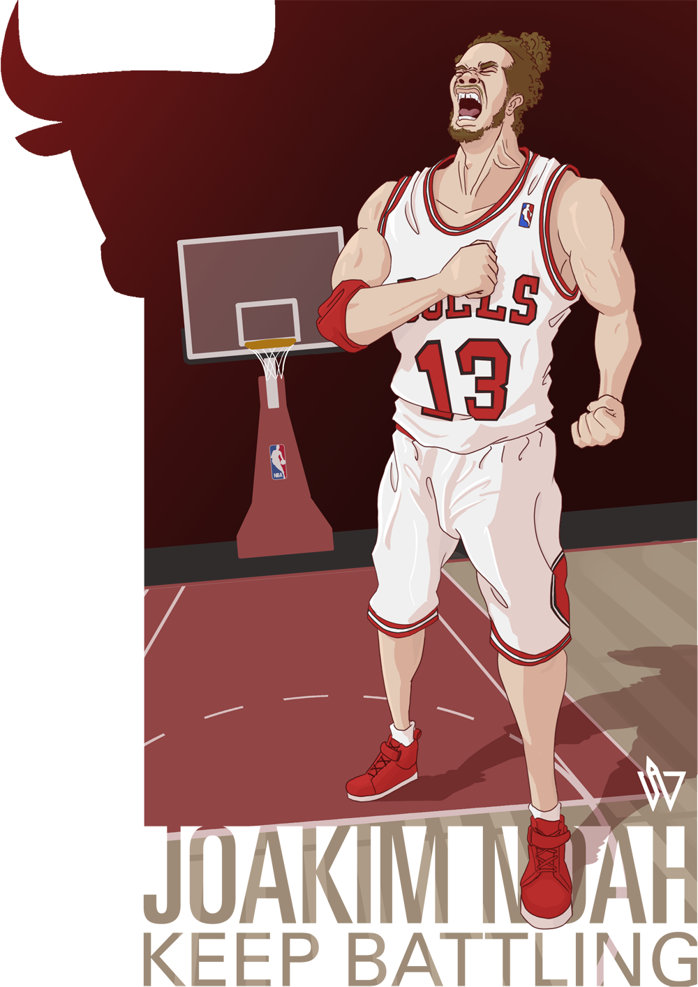 JOAKIM NOAH - KEEP BATTLINGThe first of a series of illustrations inspired by the NBA basketball team, the Chicago Bulls, and their 2012-2013 season - their struggles, their adversity; their growth and their triumphs. Though the season may have ended on the 15th May, the Bulls have shown great toughness, resilience and willpower to bring the fight to the other teams. Noah is one of my favourite NBA players - his passion, his strength and his tenacity are all qualities I respect. For me, though he may not be the star of the team, he is the core and vital to this young Chicago Bulls team. That's why he is the first to feature in this series of illustrations. This piece was so long in the making but I'm really pleased with the final result. I love how Noah came out and the general feel of the image. Of course there are areas that could be improved, I need more practice with hands and I need to learn more about muscle structure… oh and clothing. But the biggest thing is still backgrounds. Again I'm happy with the overall outcome but the background is a it… blah. Haa.So yeah, this is my first piece in tribute to my team, the Chicago Bulls. I've got ideas for the next couple of illustrations in the series but I'm going to have to put it on hold for a bit; have some other things and projects I need to work on.Right, it's going on 4:00am here… I best be getting some kip.