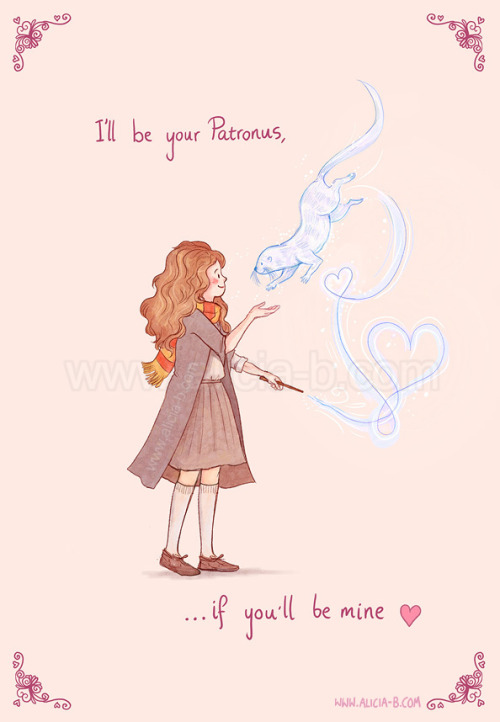 Expecto Patronum - I'll be yours if you'll be mine!  Valentines Card for sale on Redbubble here! (Big thank you hugs to my mum for helping me turn the original weird-cat-mammal thingy I had drawn into something that actually looked like an otter! Love you, Mum!)