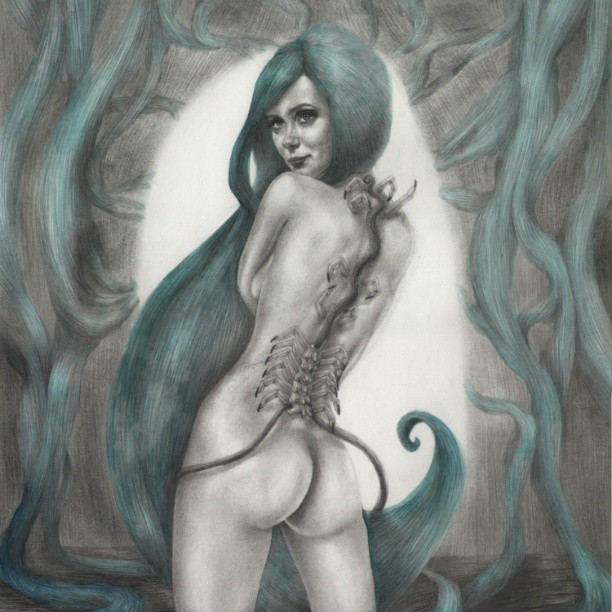 Cropped #drawing of #Persephone check out full version at http://www.Jessicawardart.net #graphite #winsorandnewton #derwent #pencil #artistonistagram #art #hair #green #blue #art #instart #watercolor #spine #spinalcord #darkart #gothicart #fetishart #girl #sexy